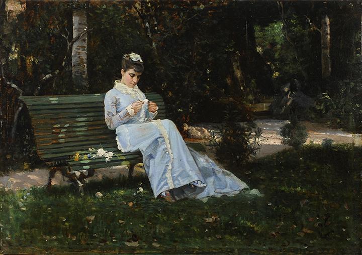 01_Cristiano Banti, Ritratto di Alaide seduta in giardino, antica collezione Banti - Copia copia