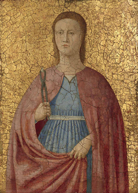 Attributed to Piero della Francesca, Saint Apollonia, Italian, c. 1416/1417 - 1492, c. 1455/1460, tempera on panel, Samuel H. Kress Collection