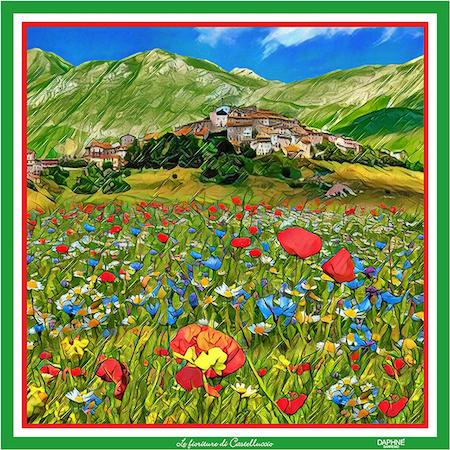 Foulard DAPHNE- Le fioriture di Castelluccio
