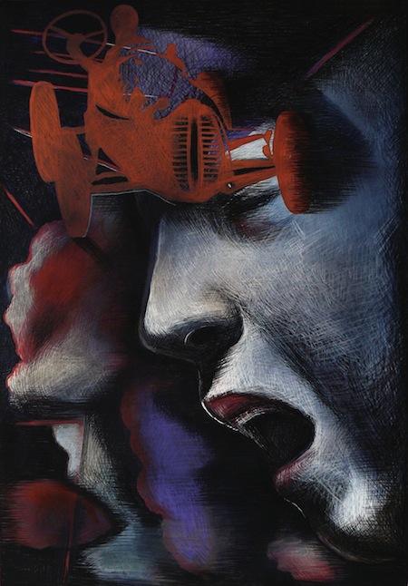 Galbusera Renato, Viva Nuvolari 2014, tecnica mista su tela, cm 100x70 copia