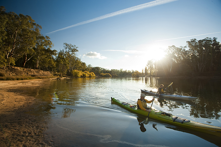 Kayaking on the Murray River