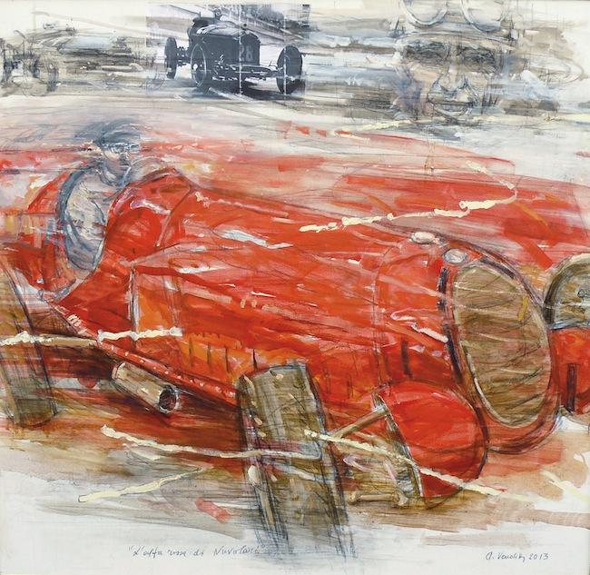 Venditti Alberto, L.Alfa rossa di Nuvolari 2013, tecnica mista su tela, cm 95x100 copia